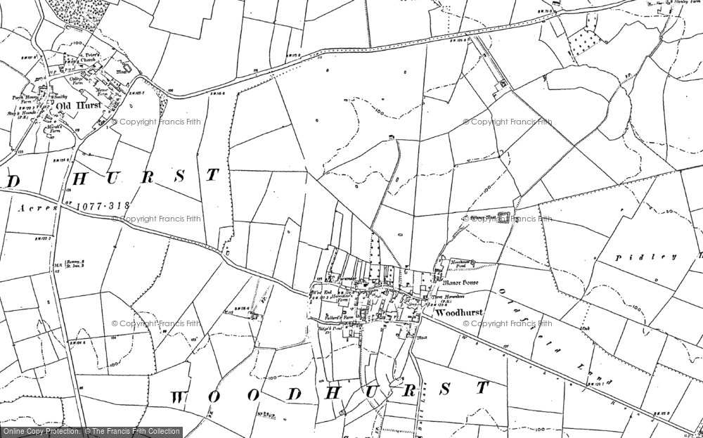 Old Map of Woodhurst, 1887 - 1900 in 1887