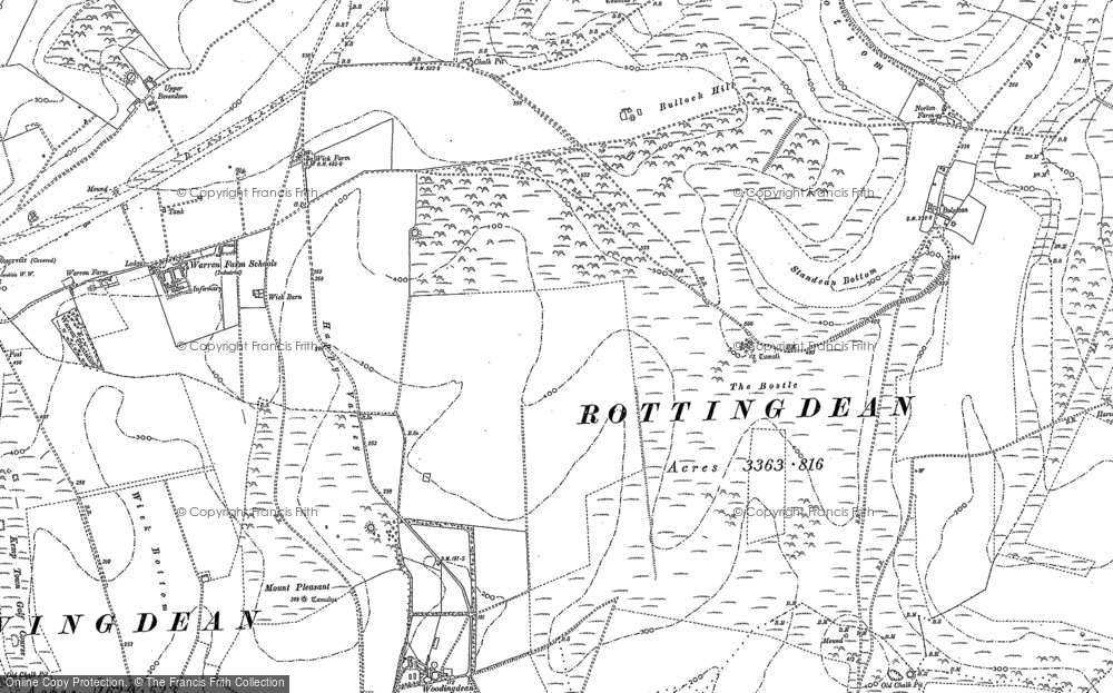 Old Map of Woodingdean, 1909 in 1909