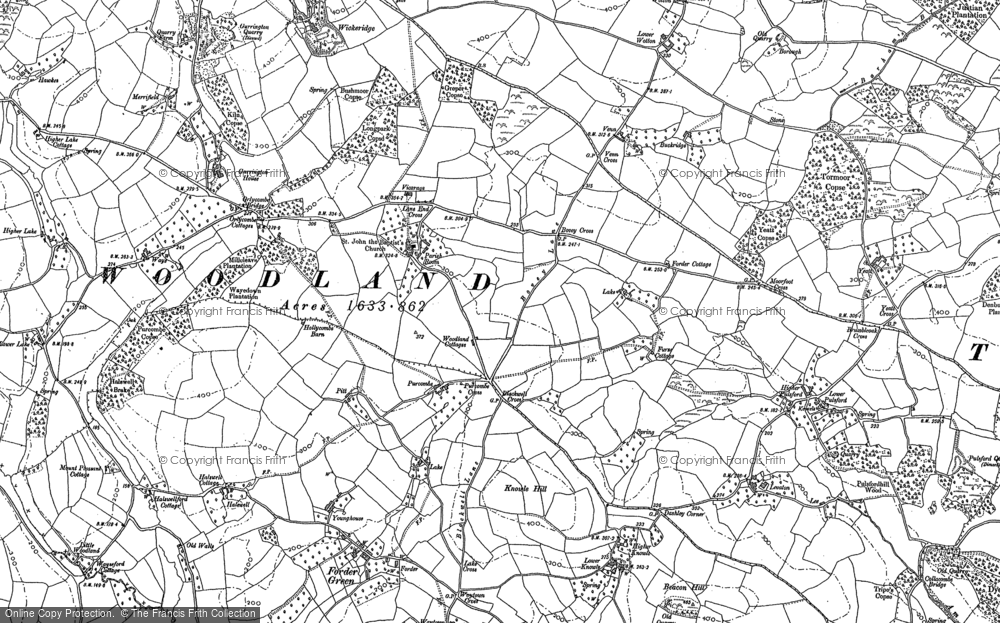 Old Map of Woodland, 1886 in 1886