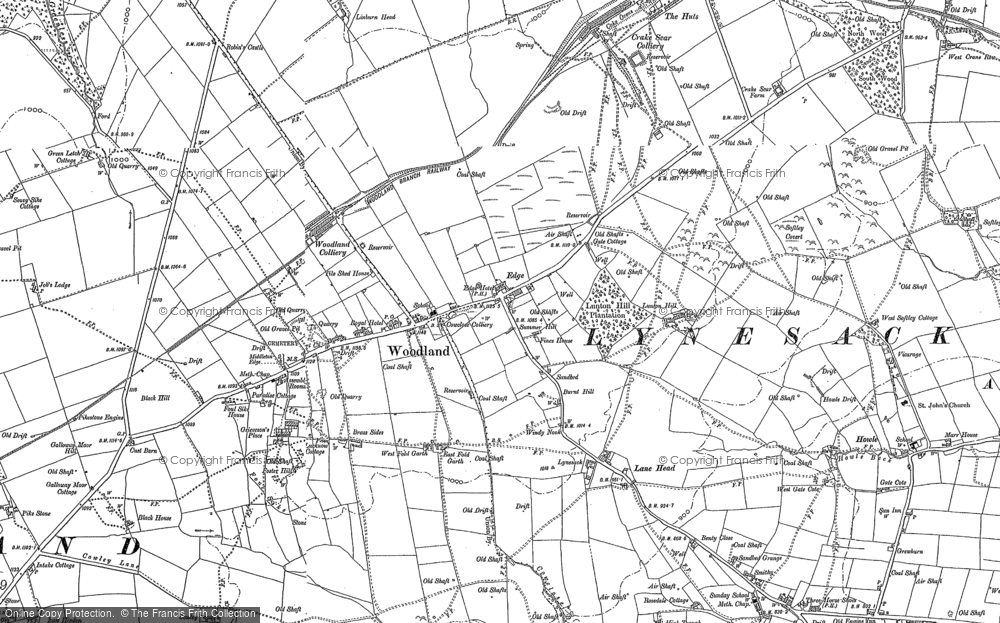 Old Map of Woodland, 1896 in 1896