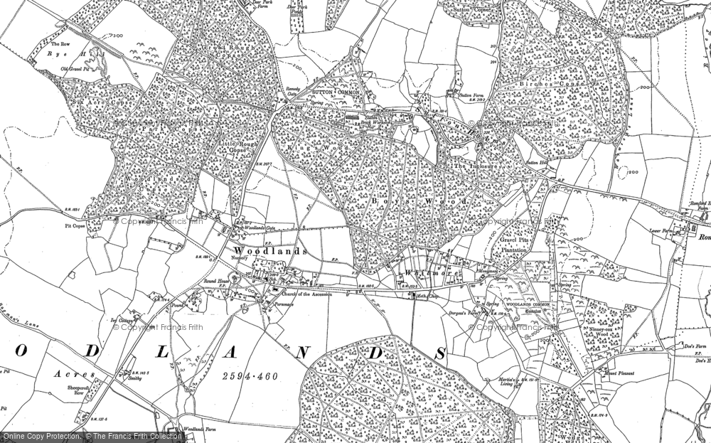 Old Map of Historic Map covering Woodlands Common in 1900
