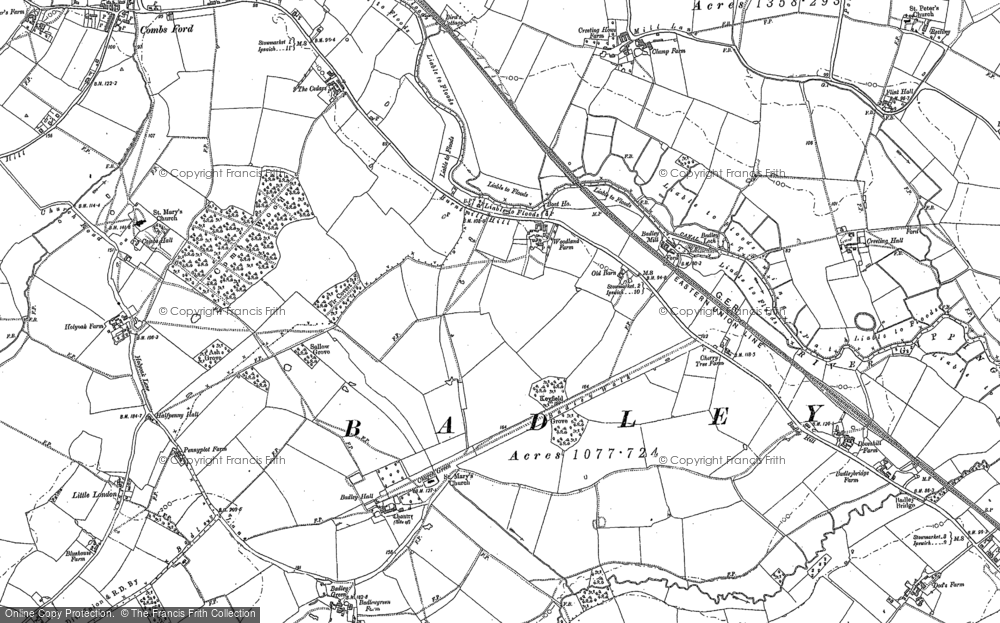 Old Map of Historic Map covering Badley Hill in 1884
