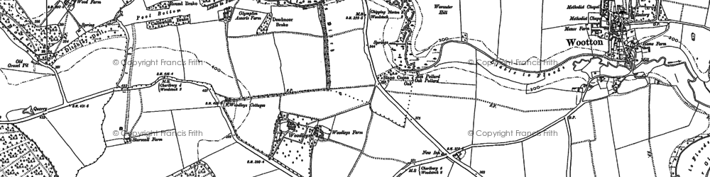 Old map of Wootton Wood in 1898