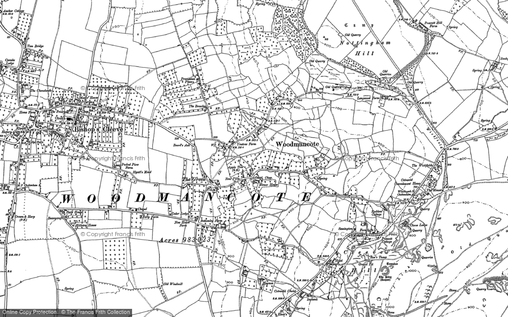 Old Map of Woodmancote, 1883 in 1883