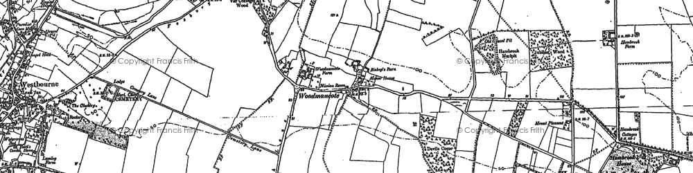 Old map of Woodmancote in 1909