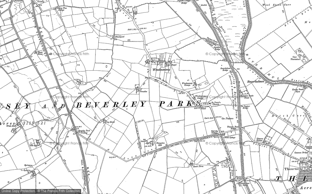 Old Map of Woodmansey, 1889 - 1891 in 1889