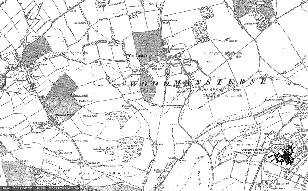 Old Map of Woodmansterne, 1894 in 1894