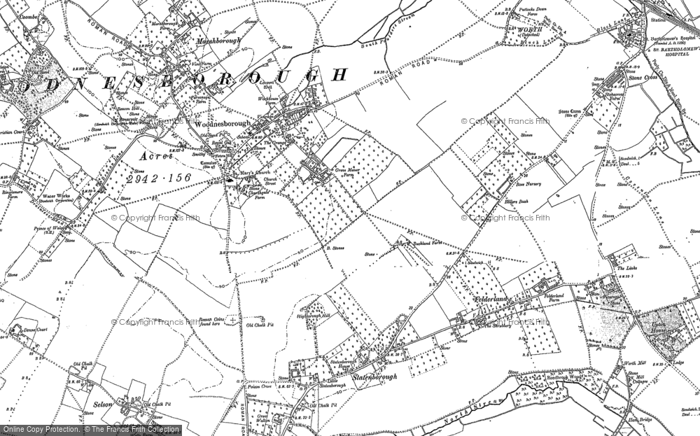 Old Map of Woodnesborough, 1896 in 1896