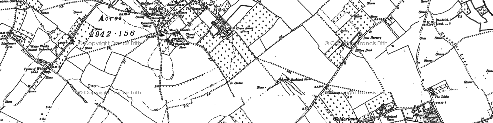 Old map of Woodnesborough in 1896