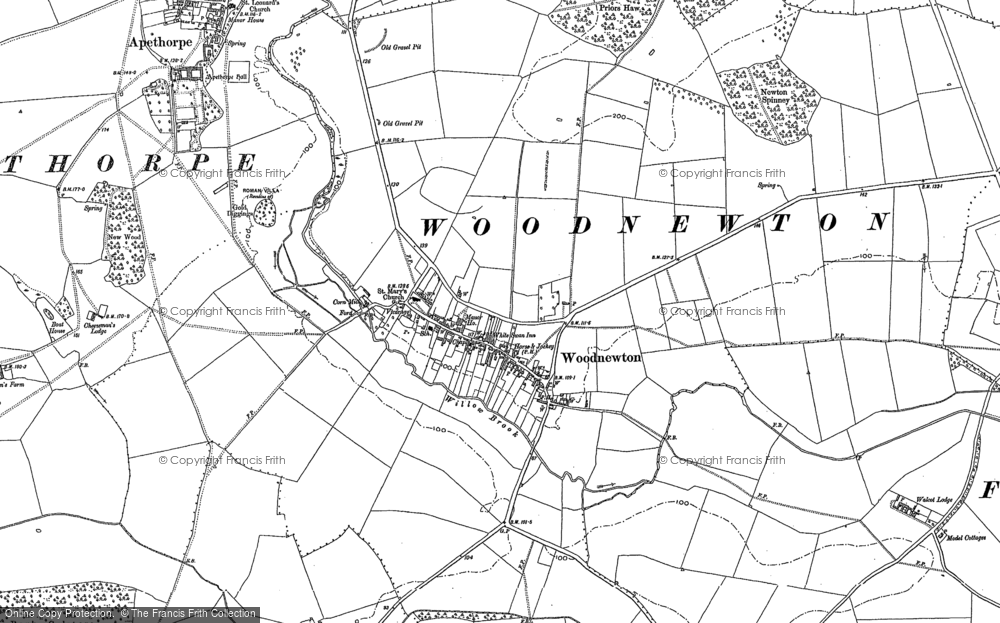 Old Map of Woodnewton, 1885 in 1885