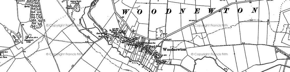 Old map of Woodnewton in 1885