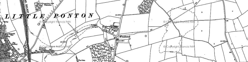Old map of Woodnook in 1885