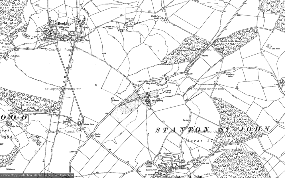Old Map of Woodperry, 1898 in 1898