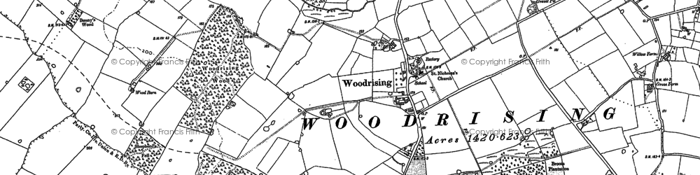 Old map of Woodrising Wood in 1882