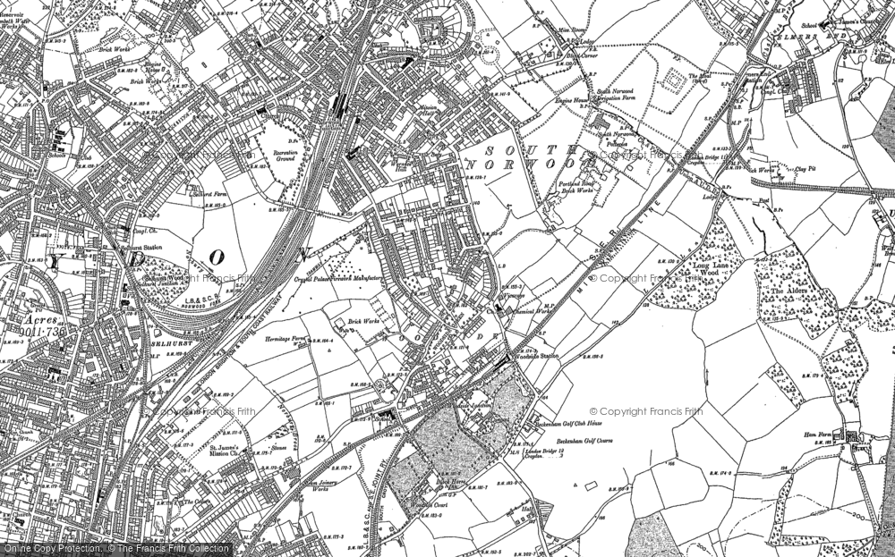 Old Map of Woodside Green, 1896 in 1896