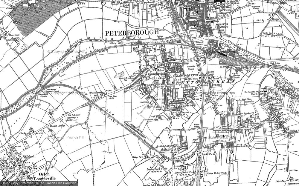 Old Map of Woodston, 1887 in 1887