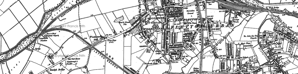 Old map of Woodston in 1887