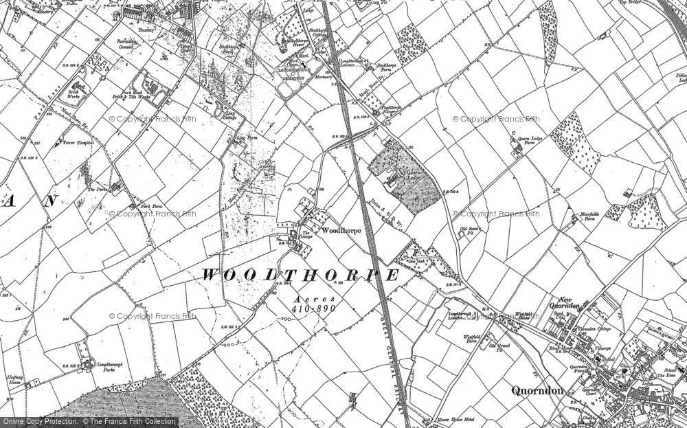 Old Map of Woodthorpe, 1883 in 1883