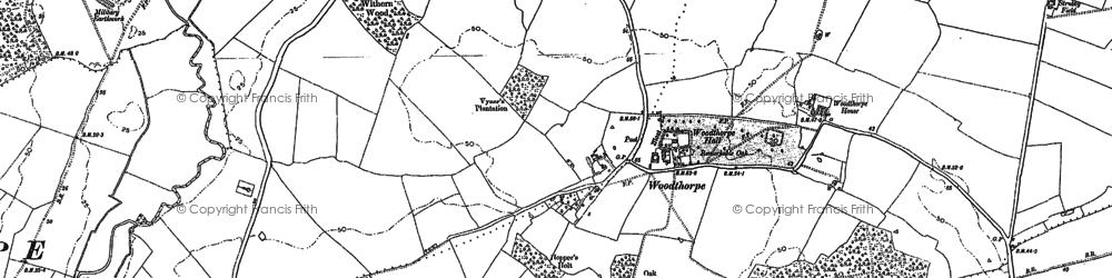 Old map of Woodthorpe in 1887
