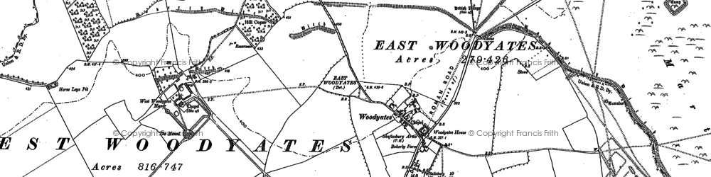 Old map of Woodyates in 1900