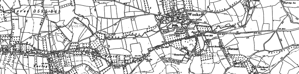Old map of Wookey in 1884