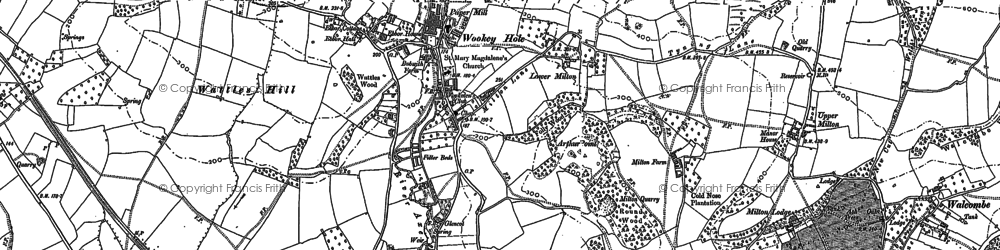 Old map of Wookey Hole in 1884