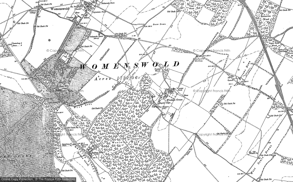 Old Map of Woolage Green, 1896 in 1896