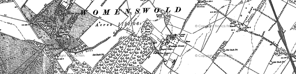 Old map of Woolage Green in 1896
