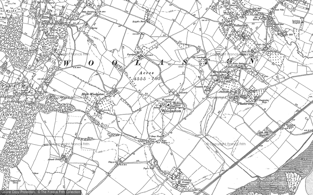 Old Map of Historic Map covering Woolaston Slade in 1880