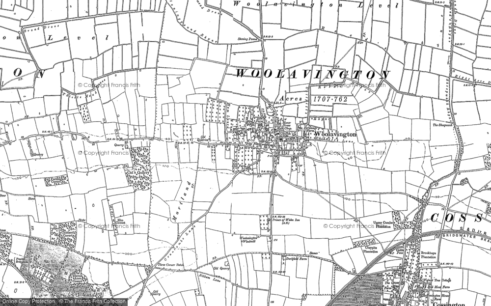Old Map of Historic Map covering Woolavington Level in 1884