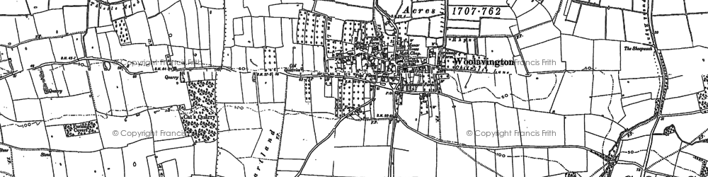 Old map of Woolavington in 1884