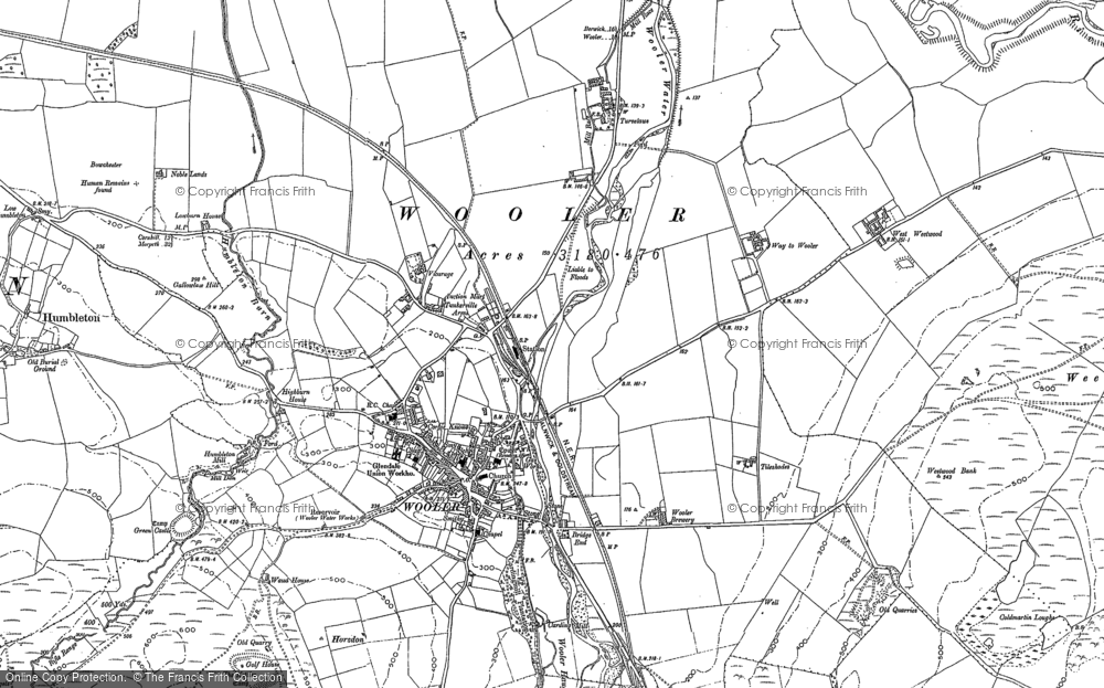 Old Map of Wooler, 1896 - 1897 in 1896