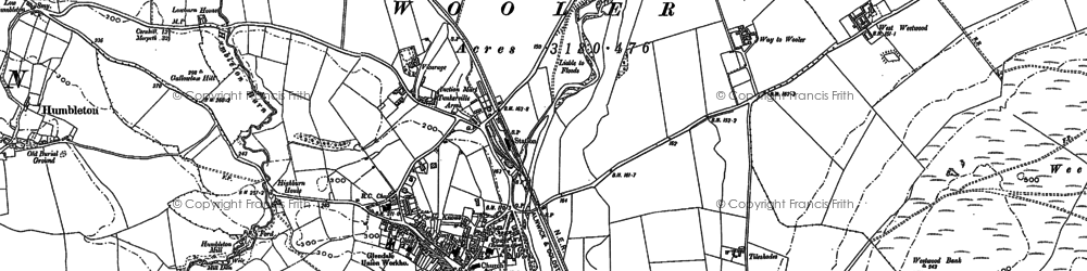 Old map of Wooler in 1896