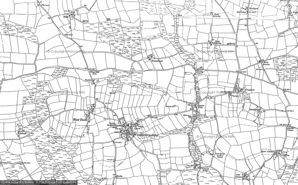 Old Map of Woolfardisworthy, 1884 - 1904 in 1884