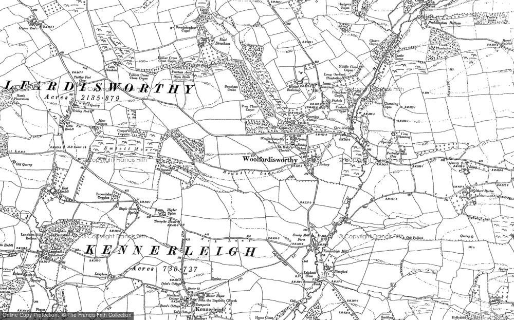 Old Map of Woolfardisworthy, 1887 in 1887