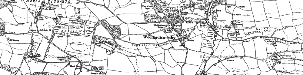 Old map of Woolfardisworthy in 1887