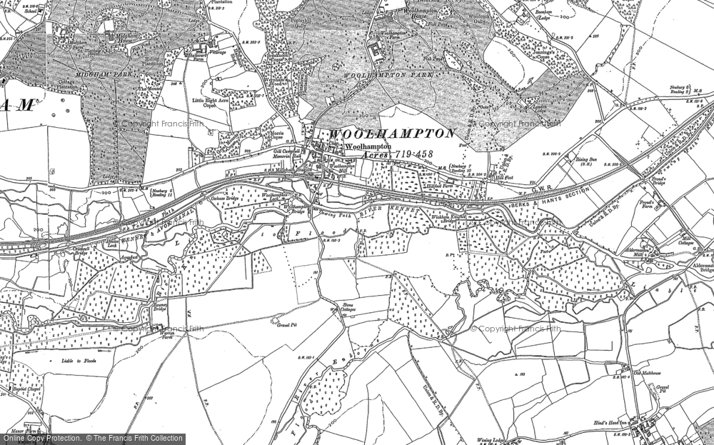 Old Map of Woolhampton, 1898 - 1909 in 1898