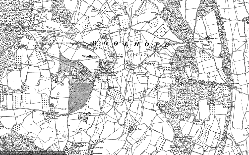 Old Map of Historic Map covering Alford's Mill in 1887