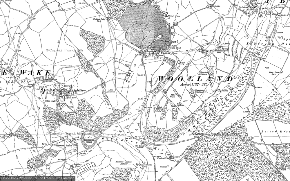 Old Map of Historic Map covering Woolland Hill in 1887