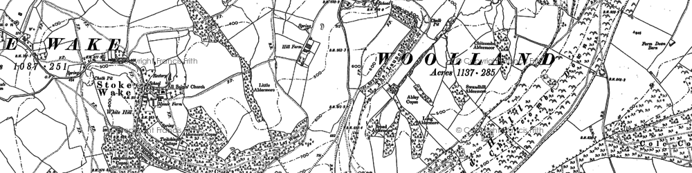 Old map of Woolland in 1887