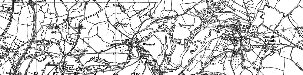 Old map of Wooscombe Bottom in 1882