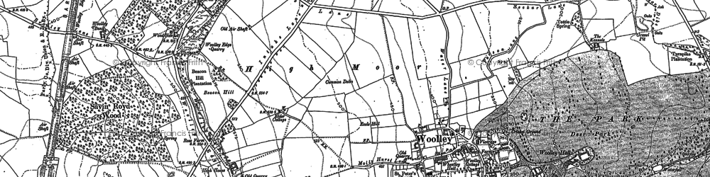 Old map of Woolley Edge in 1891