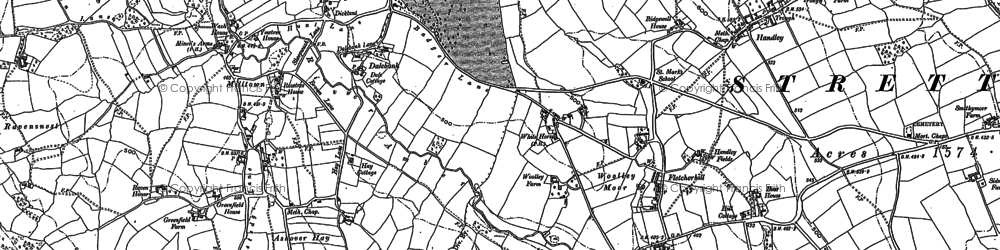 Old map of Woolley in 1879