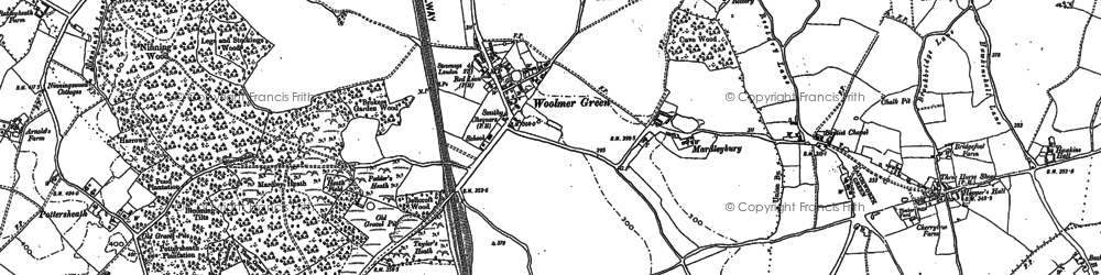 Old map of Woolmer Green in 1896