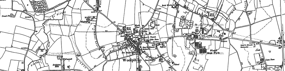 Old map of Woolpit in 1883