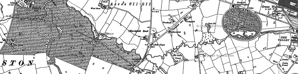 Old map of Woolstanwood in 1897