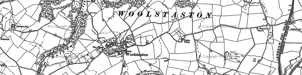 Old map of Woolstaston in 1882