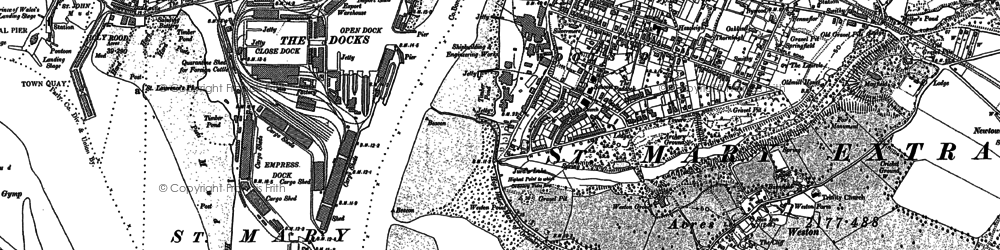 Old map of Weston in 1896