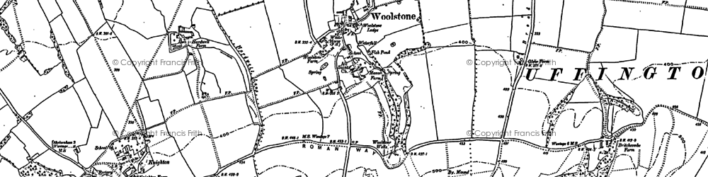 Old map of Woolstone in 1898