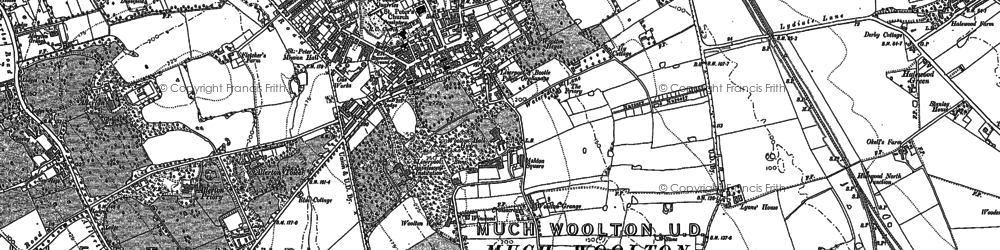 Old map of Woolton in 1904